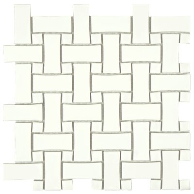 Retro Basket Weave Random Sized Porcelain Mosaic Tile in White