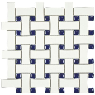 Retro Basket Weave Random Sized Porcelain Mosaic Tile in White and Cobalt