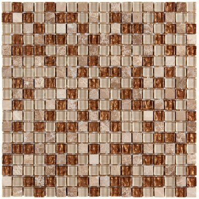 Sierra 0.625 x 0.625 Glass and Natural Stone Mosaic Tile in Caramel