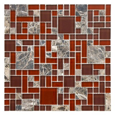 Sierra Random Sized Glass/Stone Mosaic Tile in Versailles Bordeaux