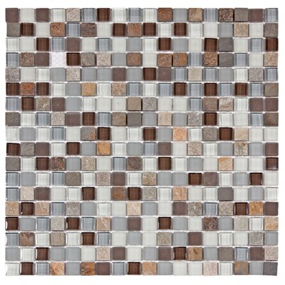 Sierra 0.58 x 0.58 Glass and Natural Stone Mosaic Tile in Brown/Gray
