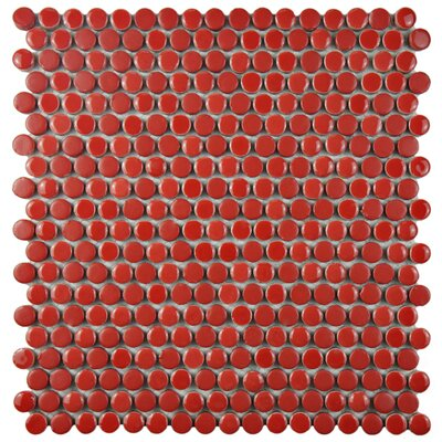 Astraea 0.62 x 0.62 Porcelain Mosaic Tile in Red