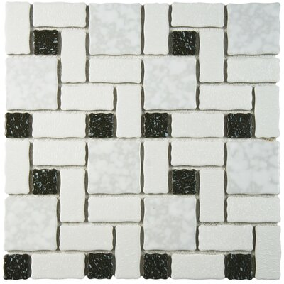 Pallas Random Sized Porcelain Mosaic Tile in White/Black