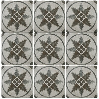 Diego 7.75 x 7.75 Ceramic Field Tile in Matte Gray/Blue/Brown