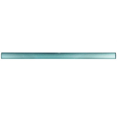 Glastelle 11.75 x 0.63 Glass and Porcelain Specialty Piece Tile Trim in Pearl Baby Blue