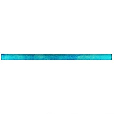 Glastelle 11.75 x 0.63 Glass Over Porcelain Tile Trim in Watercolor Cerulean Blue