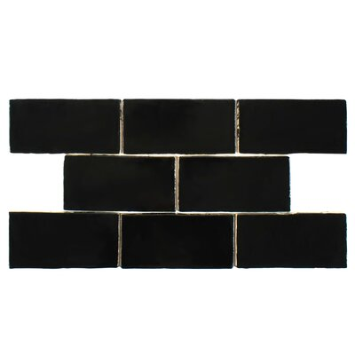 Tivoli 3 x 6 Ceramic Subway Tile in Black