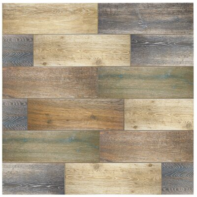 Alcazar 23.63 x 7.88 Ceramic Wood Tile in Antic