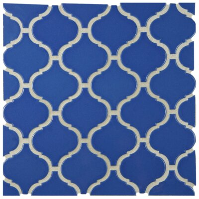 Retro Lantern 2.87 x 3.06 Porcelain Mosaic Tile in Glossy Blue