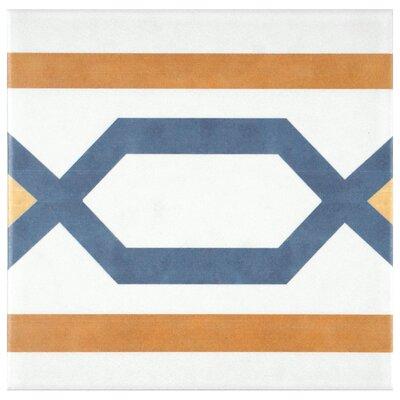 Revive 7.75 x 7.75 Ceramic Field Tile in Orange/Blue