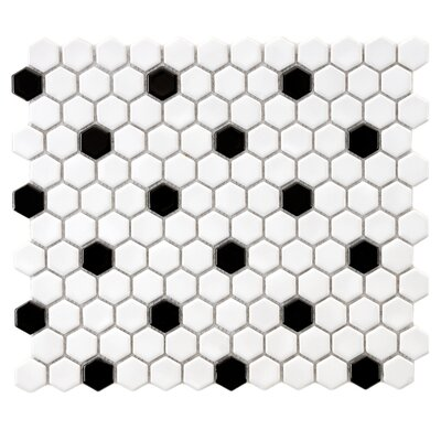 Retro 0.875 x 0.875 Hex Porcelain Mosaic Tile in White with Black Dots