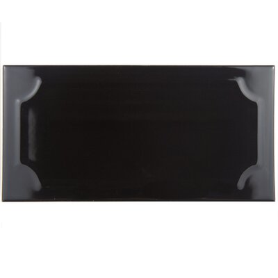 Thira 4 x 8 Ceramic Subway Tile in Nero