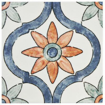 Avaricon 7.875 x 7.875 Ceramic Field Tile in Blue/Green/Orange