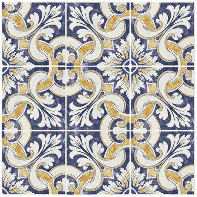 Avaricon 7.875 x 7.875 Ceramic Field Tile in Blue/Beige
