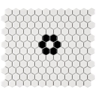 Retro Hexagon 0.875 x 0.875 Porcelain Mosaic Tile in Glazed Black/White
