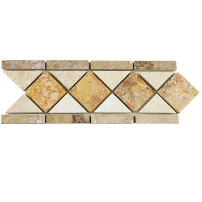Boutin 12.5 x 4 Travertine Trim Listello/Border Tile in Noce Chiaro Gold