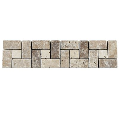 Boutin 12 x 3 Travertine Spiral Trim Listello/Border Tile in Noce Chiaro