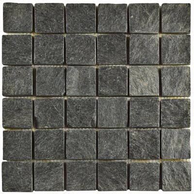 Peak Quad Quartzite 1.88 x 1.88 Slate Mosaic Tile in Black