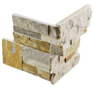 Piedro 7 x 7 Natural Stone Corner Piece Tile Trim in Honey