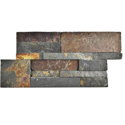 Piedro 7 x 13.5 Natural Stone Splitface Tile in Gray/Rusty Brown