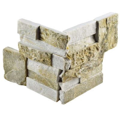Piedro 7 x 7 Natural Stone Corner Piece Tile Trim in Sunstone