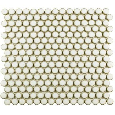 Penny 0.8 x 0.8 Porcelain Mosaic Tile in Snowcap White