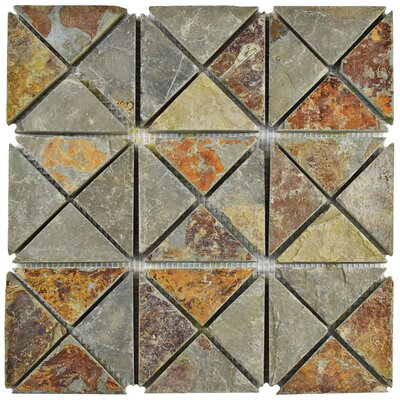 Peak TriSquare Random Sized Slate Mosaic Tile in Sunset