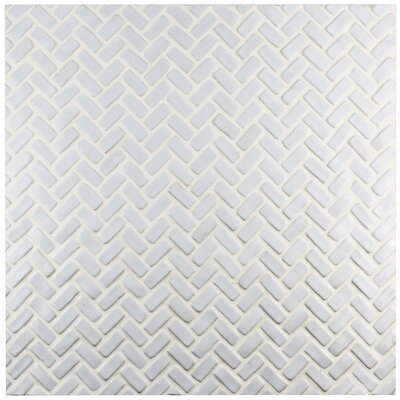 Greenwich 0.875 x 2.875 Herringbone Ceramic Mosaic Tile in White