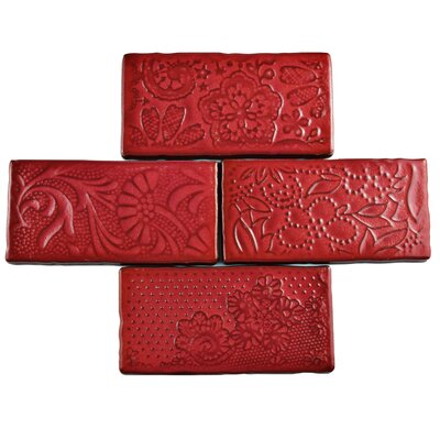 Antiqua 3 x 6 Ceramic Subway Tile in Feelings Red Moon