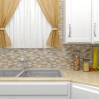 Sierra 0.58 x 1.88 Glass and Natural Stone Mosaic Tile in Latte