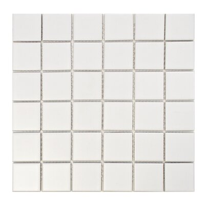 Retro Quad 2 x 2 Porcelain Mosaic Tile in Matte White