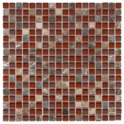 Sierra 0.58 x 0.58 Glass and Natural Stone Mosaic Tile in Bordeaux