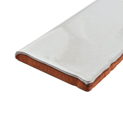 Antiqua 6 x 3 Ceramic Bullnose Tile Trim in Gris Oscuro Craquele