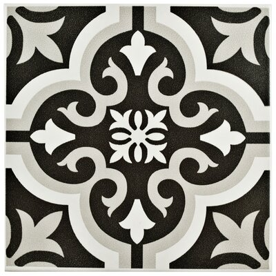 Lima 7.75 x 7.75 Ceramic Field Tile in Black/Gray