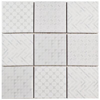 Geogloss 3.88 x 3.88 Porcelain Mosaic Tile in White