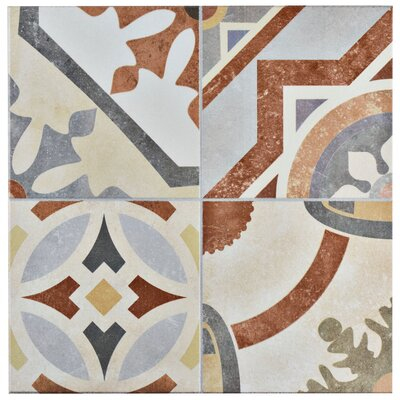 Hydraulic 13 x 13 Ceramic Field Tile in Beige/Terracotta