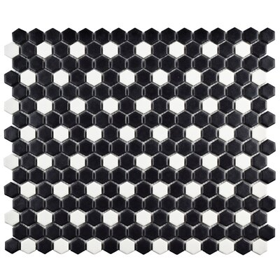 Retro 0.75 x 0.75 Porcelain Mosaic Tile in Matte Black/White