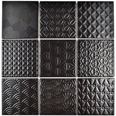 Vigor 3.88 x 3.88 Porcelain Mosaic Tile in Black