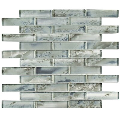 Splendor 0.88 x 3.88 Glass Mosaic Tile in Silver/Gray