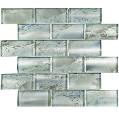 Splendor 1.88 x 3.88 Glass Mosaic Tile in Silver/Gray