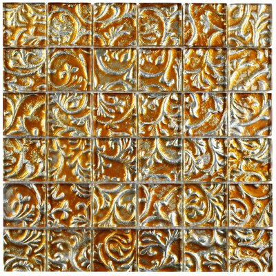 Florencia 1.88 x 1.88 Glass Mosaic Tile in Burnt Orange/Gold Ivy