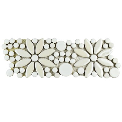 Tucana 4.25 x 12.75 Porcelain Flower Mosaic Border Decorative Accent Tile in White