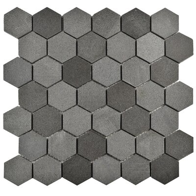 Formation 1.88 x 1.88 Hex Volcanic Stone Mosaic Tile in Black