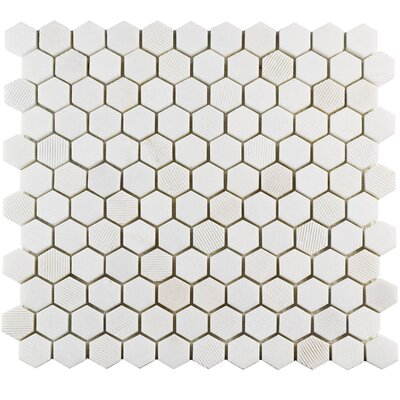 Formation 1 x 1 Marble Mosaic Tile in White