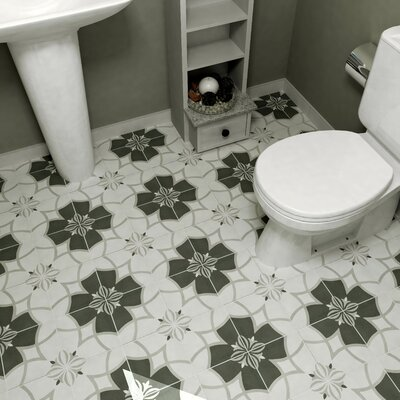 Forties 7.75 x 7.75 Ceramic Floor and Wall Tile in Crest White and Gray
