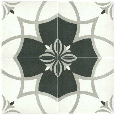 Forties 7.75 x 7.75 Ceramic Field Tile in White/Gray