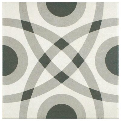 Forties 7.75 x 7.75 Ceramic Field Tile in Circle Gray/White