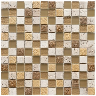 Kathedra 0.88 x 0.88 Glass and Stone Mosaic Wall Tile in Milano Brown and Cream