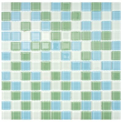 Continuum 0.88 x 0.88 Glass Mosaic Tile in Light Blue/Green