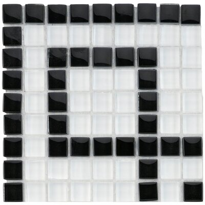 Sierra 0.63 x 0.63 Glass Mosaic Tile in White/Black